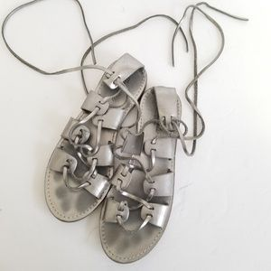 Madewell size 9 leather metallic lace up sandals